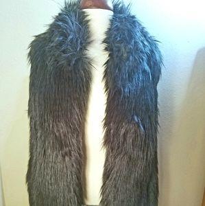 Loft Ann Taylor longhair faux fur vegan black vest